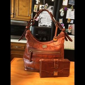 DB Brown Crocodile Embossed Leather Hobo & Clutch